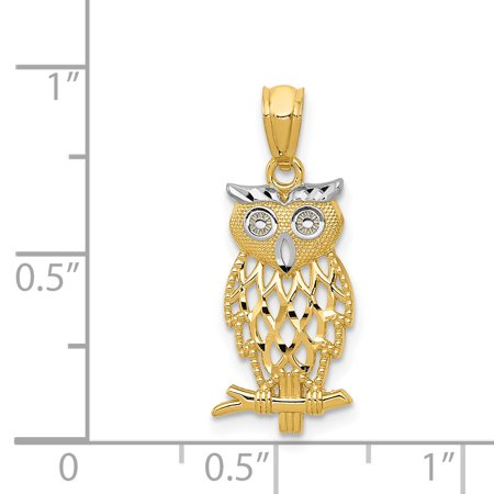 14K Yellow Gold & Rhodium Owl Pendant - image 1 of 2