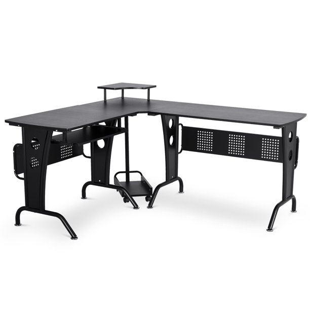 HomCom L-Shaped Corner Computer Office Desk Workstation with Rolling Keyboard Tray, & Convenient CPU Stand, Black