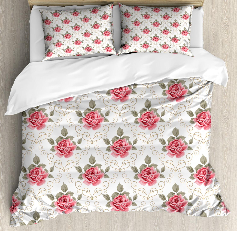 "Pink Rose 18/"" Doll Bedding Set Flower Blanket//Pillow Blue Floral Shabby Chic"