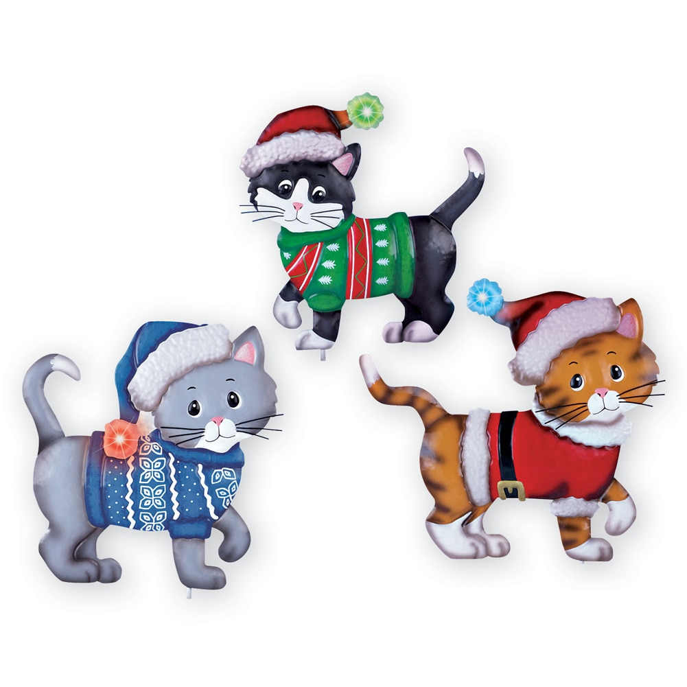 Lighted Christmas Cats Outdoor Decoration - Set of 3