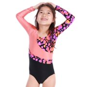 VEVA by Very Vary Girls Pink Black Logos Gymnastics Leotard