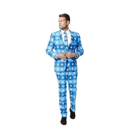 Christmas Sweater Suit.Mens Ugly Christmas Sweater Blue Party Suit And Tie By Opposuits