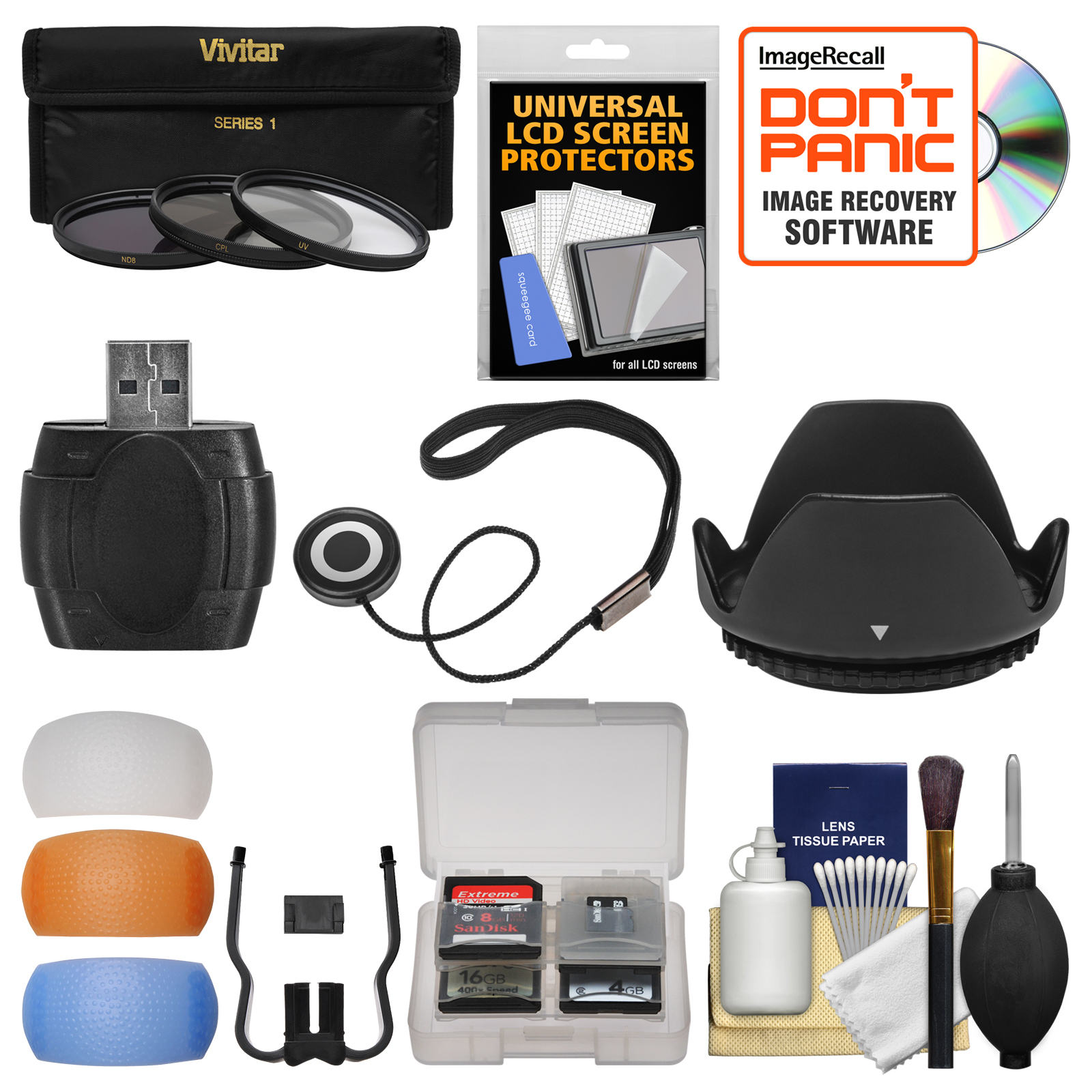 Essentials Bundle for Canon Rebel SL1, T5, T5i, T6, T6i, T6s Camera & 18-135mm Lens with 3 UV/CPL/ND8 Filters + Hood + Flash Diffusers + Reader + Kit