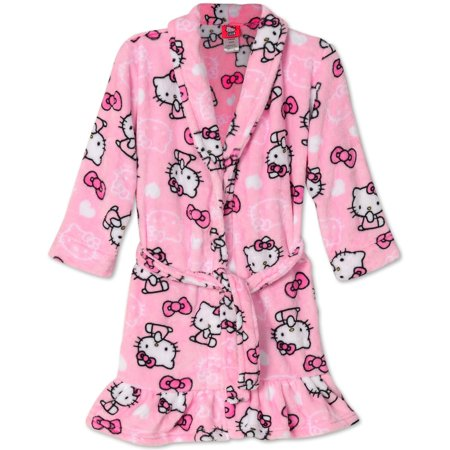 Hello Kitty Nightgown - Hello Kitty Big Girls Pretty Kitty Pink Plush Fleece Robe Bathrobe