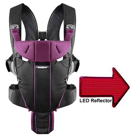fbfd0dfd2f5 Baby Bjorn - Miracle Baby Carrier with LED Safety Reflector Light - Black  Purple - Walmart.com