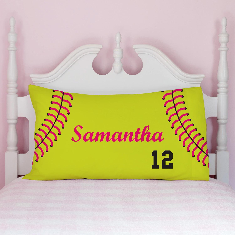 Personalized Softball Pillowcase