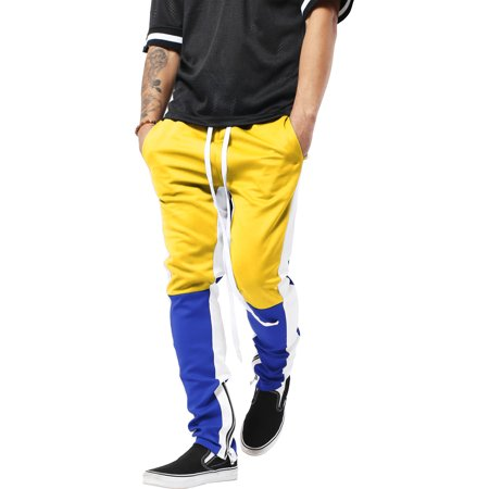 Mens Stripe Track Pants Three Tone Color Block Skinny Fit Stretch Casual Elastic Athletic Training Slim