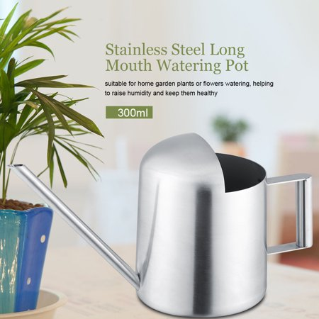 Yosoo Watering Pot,Stainless Steel Watering Can 300/500mL Garden Plant Flower Long Mouth Sprinkling Pot, Stainless Steel Watering Can, Watering Can