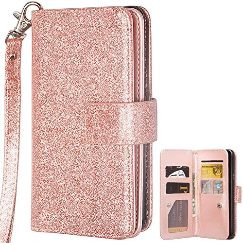 Samsung Galaxy S8 Case, Glitter Leather Flip Credit Card Holder Wrist Strap Protective Wallet Case Clutch for Samsung Galaxy S8 - Rose Gold