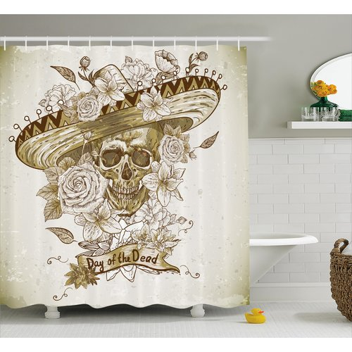 Ebern Designs Betsy Day of The Dead Wooden Floral Leaves Mexican Spanish Festive Hat Print Shower Curtain