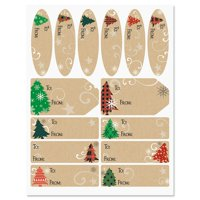 Plaid Trees on Kraft Labels - Set of 42 Gift Tags