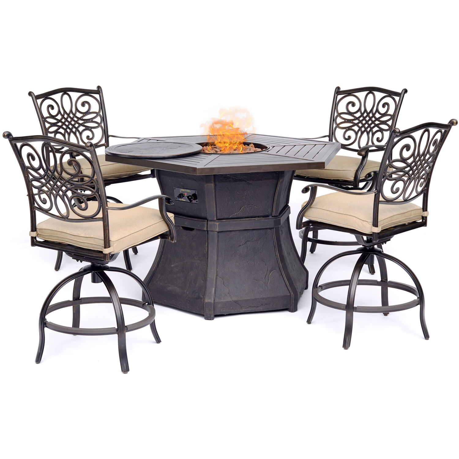 Hanover Traditions 5-Piece High-Dining Set in Tan with 4 Swivel Chairs and a 40,000 BTU Cast-top Fire Pit Table