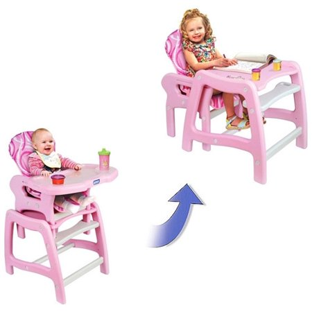 Badger Basket 00938 Envee Baby High Chair with Playtable Conversion - Pink-White