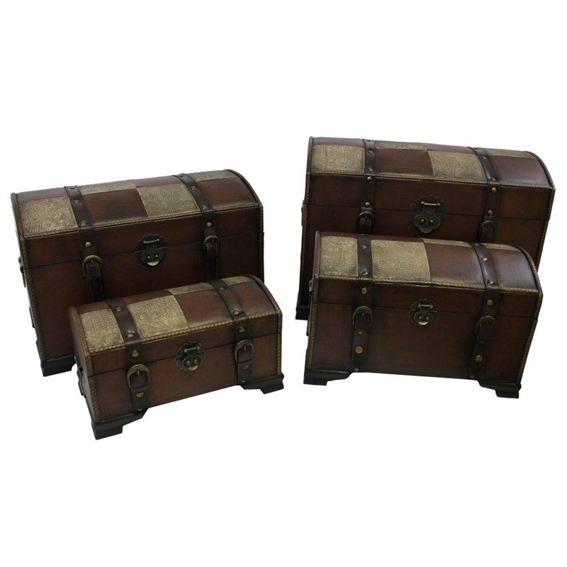 International Caravan Seville Set of 4 Faux Leather Trunks in Mix