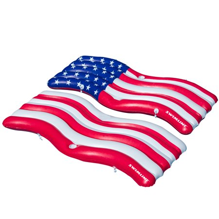 Swimline 2 Pack Inflatable Americana Flag Swimming Pool and Lake Connector Mat
