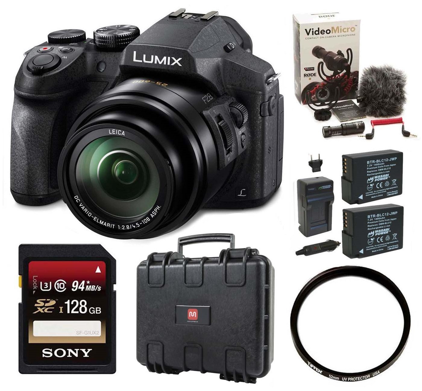 Panasonic FZ300K, 4K Video, Splash & Dustproof Rode w/ Fi...