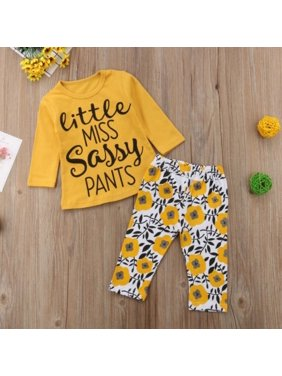 7adbac4e6e2 Product Image Cute Little Miss Sassy Pants Newborn Baby Girls Top Long  Sleeve Pants Outfits Set Casual Clothes. Fiomva