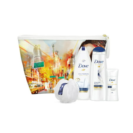 Dove 5-Pc New York City Beauty Gift Set with BONUS Pouf & Makeup Bag (Body Wash, Shampoo, Deo)