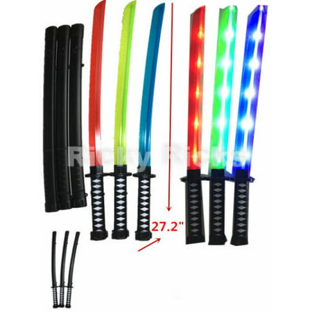 2 Light-Up Ninja Swords w/ Case Flashing LED Long Toy Sticks Glow Samurai - Led Glowstick