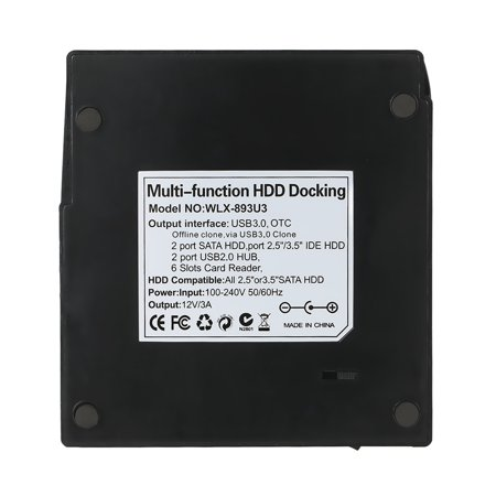 "Multifunctional 2.5""/ 3.5"" USB 3.0 to 2 SATA Ports 1 Port External HDD Hard Drive Docking Station Card Reader USB3.0 Hub with OTB/OTC Offline Clone/ Duplicator 6TB - image 6 of 7"