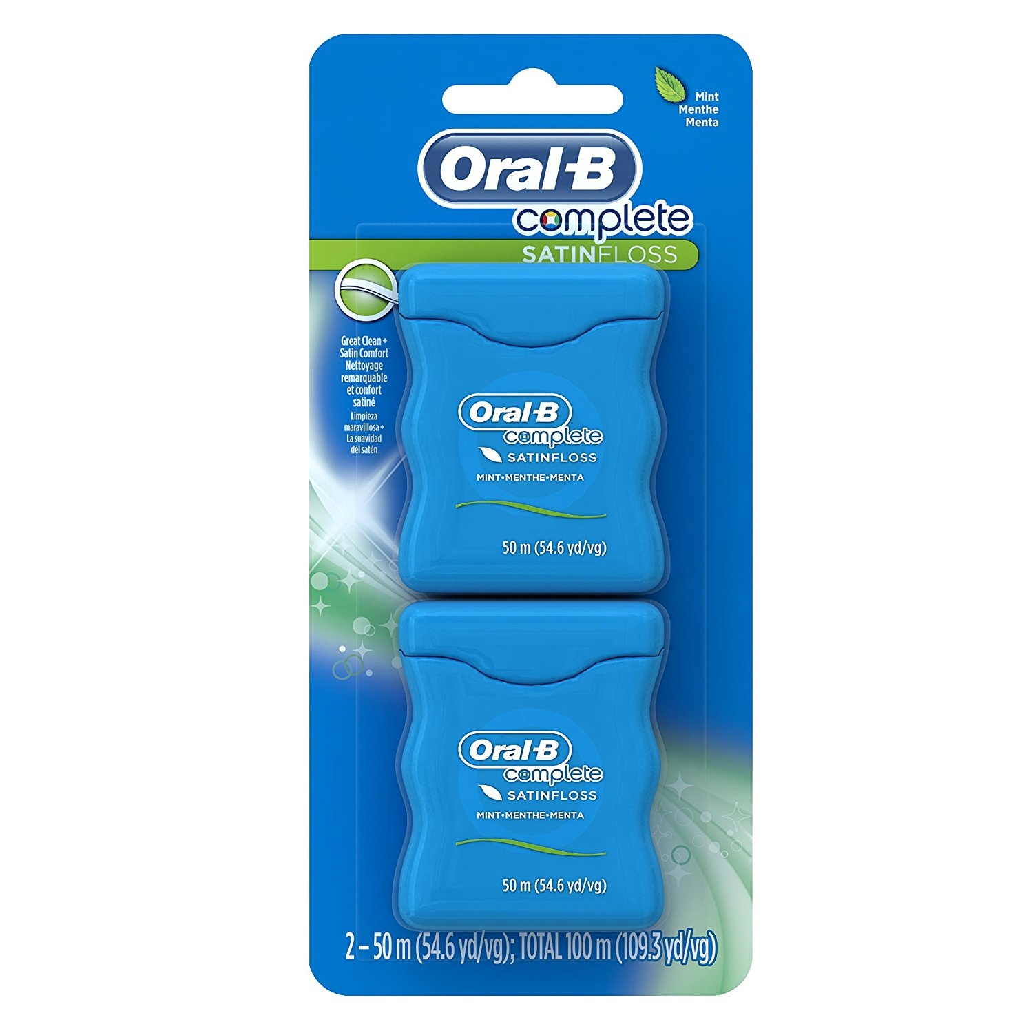 Oral-B Complete SatinFloss Dental Floss, Mint, 50 M, Pack of 2