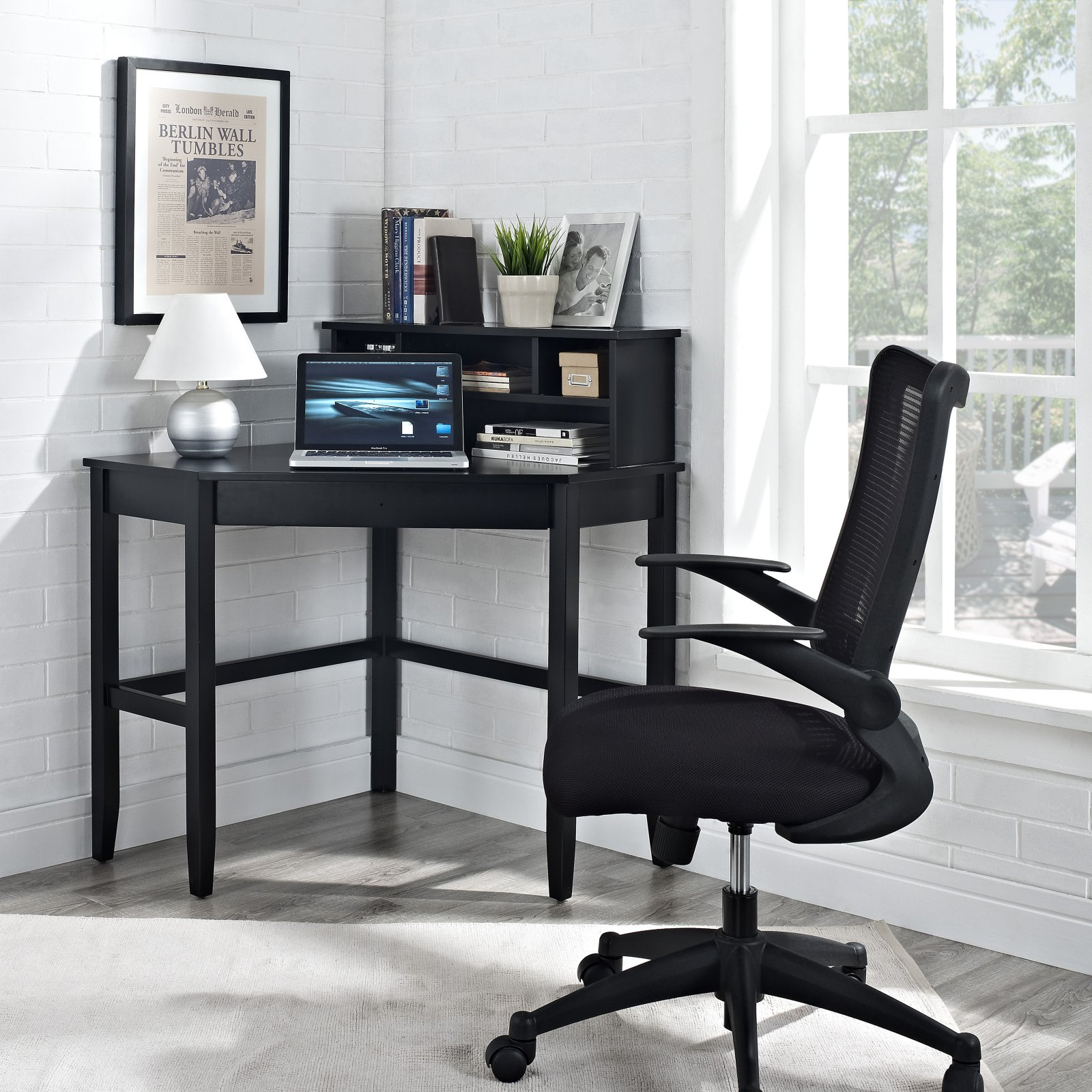 Corner Laptop Writing Desk with Optional Hutch - Black