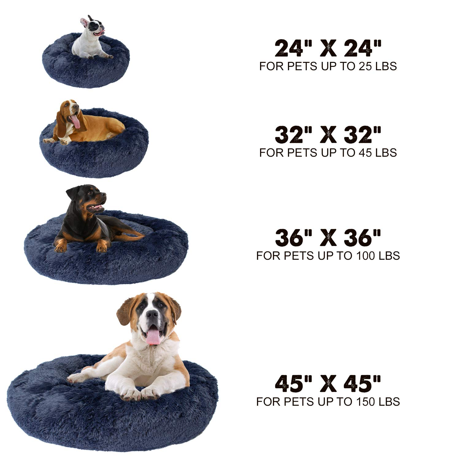 Premium Donut Dog Bed | Cozy Poof Style Giant Pet Bed Great for ...