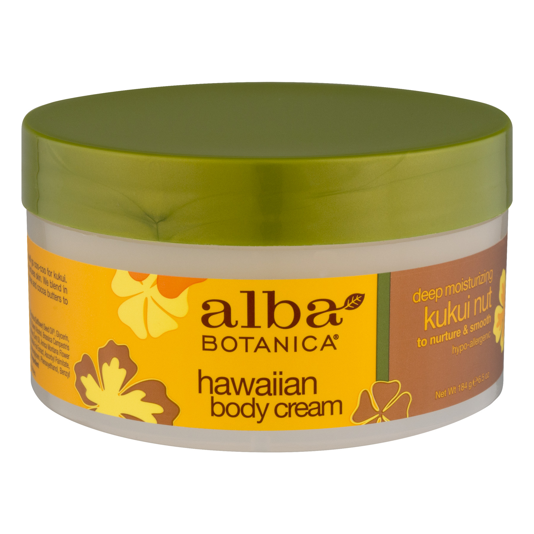 Alba Botanica Kukui Nut Body Cream, 6.5-Ounce Bottle (Pack of 2)