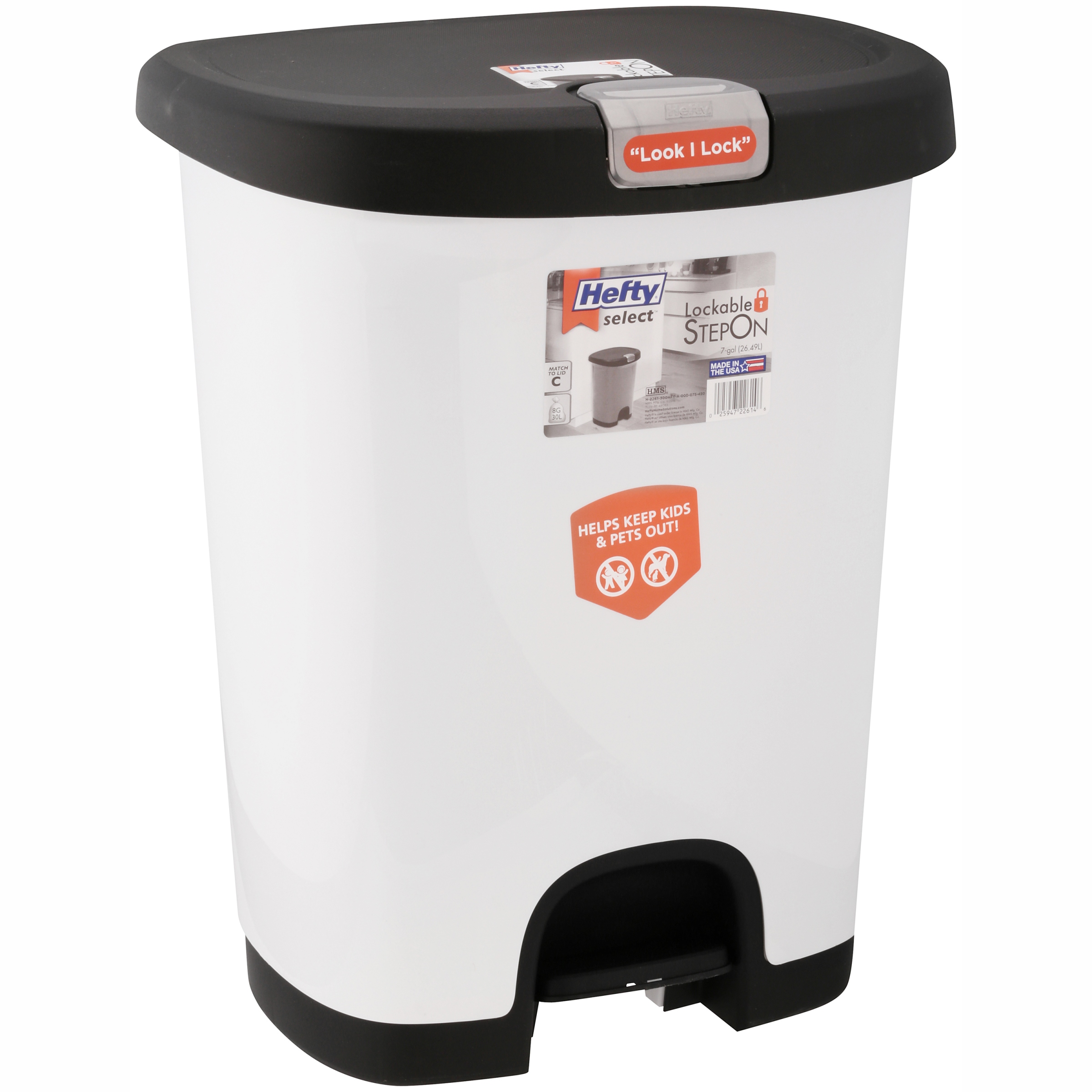 Click here to buy Hefty 7-Gal Textured Step-On Trash Can with Lid Lock and Bottom Cap, Multiple Colors by HMS Mfg. Co..