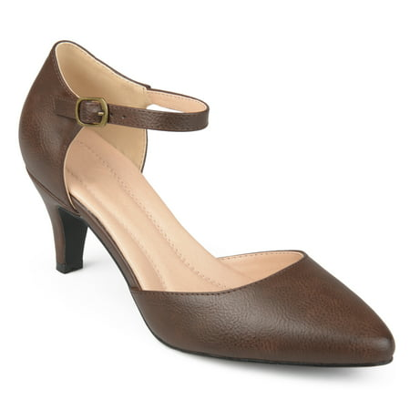 Brinley Co. Women's Faux Leather Comfort Sole D'orsay Ankle Strap Almond Toe Heels
