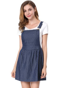 Women's Dots Pattern Adjustable Shoulder Straps Denim Overall Dress Blue (Size S / 4)