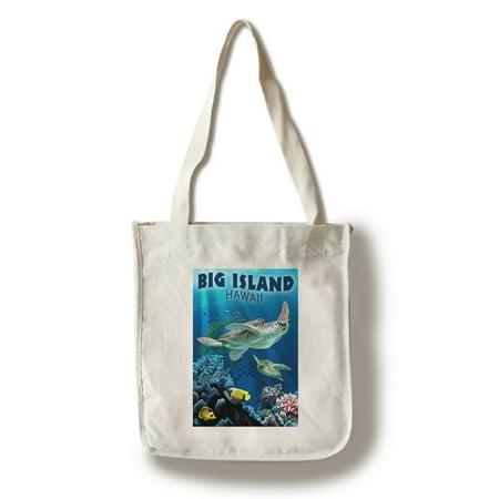 Big Island, Hawaii - Sea Turtle Swimming - Lantern Press Artwork (100% Cotton Tote Bag - Reusable) (Sea Island Cotton Antibacterial)