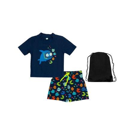e0ae1a30fada7 Kiko & Max - Kiko & Max Baby Boys Swimsuit Submarine Fish Rash Guard Shirt  and Swim Trunks 12M - Walmart.com