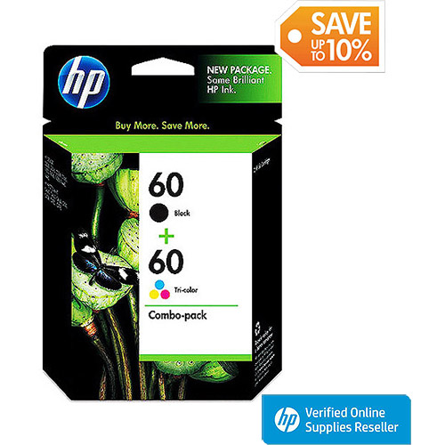 HP 60 Black and 60 Tricolor Ink Cartridge Combo Pack