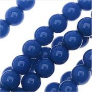 Czech Glass Pastella Collection, Smooth Round Druk Beads 6mm, 1 Strand, Nautical Blue