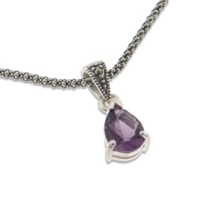 Sterling Silver Antiqued Marcasite and Genuine Amethyst Teardrop Pendant 16