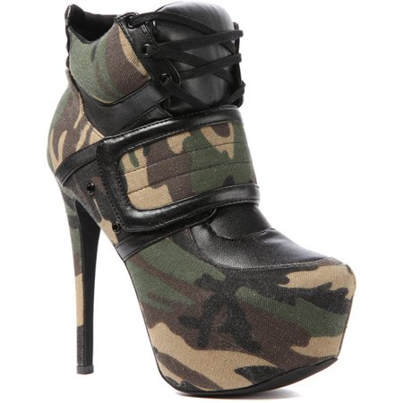 16cd7d03ac988 Privileged - Privileged Swag Army Camo Camouflage Lace Up Platform Super  High Sexy Bootie (6) - Walmart.com