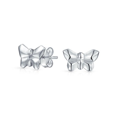 Tiny Geometric 3D Garden Origami Butterfly Stud Earrings For Women For Teen 925 Sterling Silver - image 3 of 3