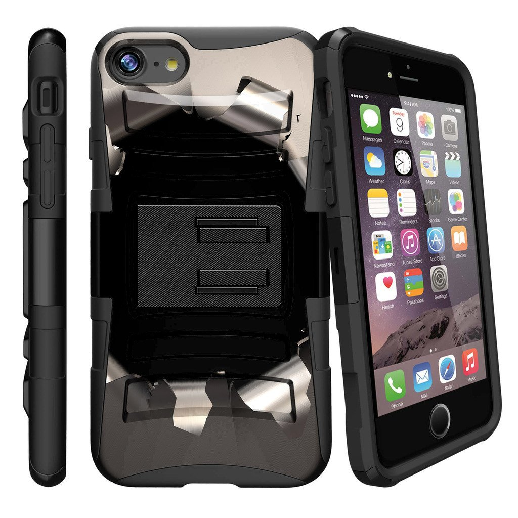 Apple iPhone 7  Case Shell [Clip Armor]- Premium Defender Case Hard Shell Silicone Interior with Kickstand and Holster by Miniturtle® - Bullet Hole
