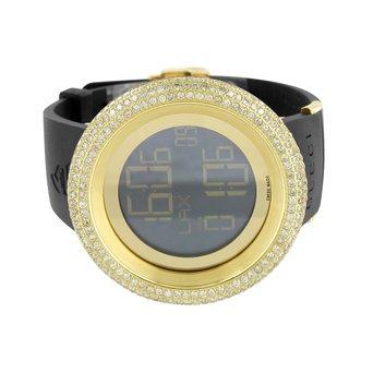 aa8ab5c9907 Grammy Edition I Gucci Watch YA114215 Diamond Bezel Mens 13 Ct Digital Gold  Tone