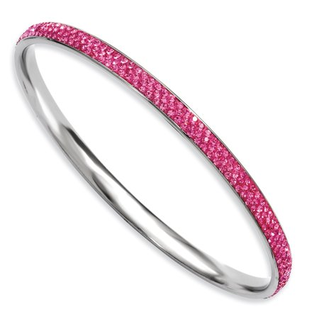 Stainless Steel Pink Crystal Rounded Bangle Bracelet Cuff Expandable Stackable Slip On For Women