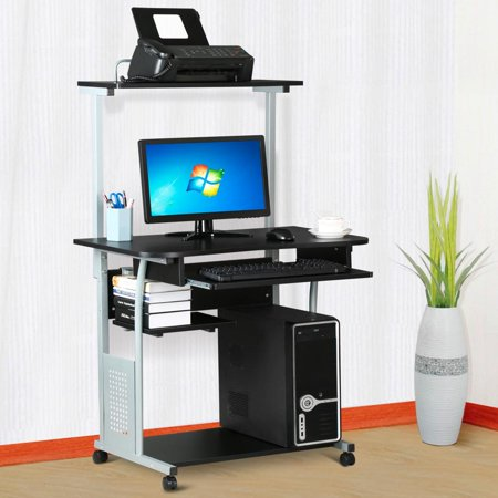 Yaheetech 2 Tier Computer Desk with Printer Shelf Stand Home Office Rolling Study Table Black ()