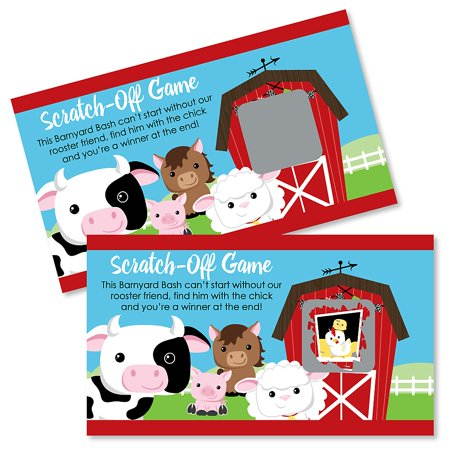 Barnyard Baby Shower (Farm Animals - Barnyard Baby Shower or Birthday Party Game Scratch Off Cards - 22 Count)