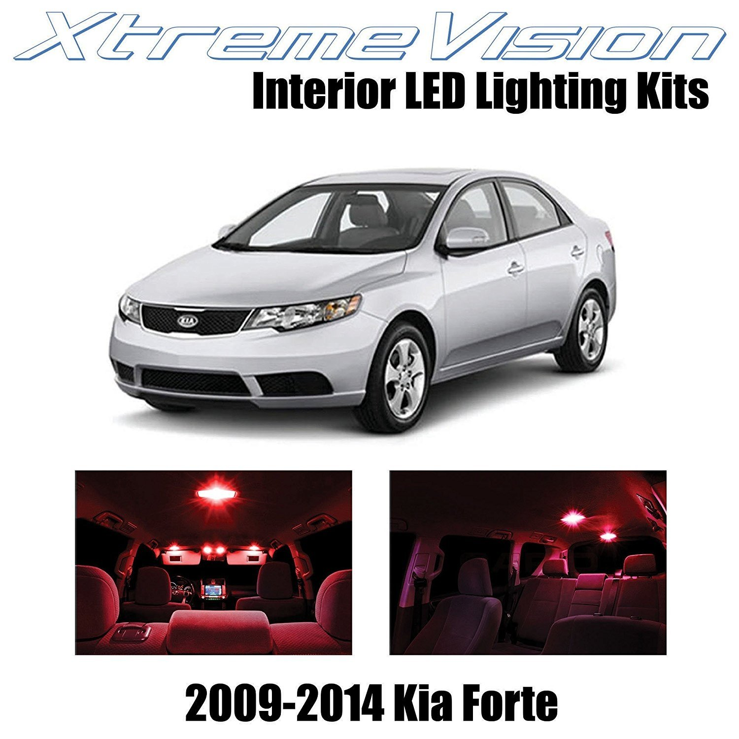 XtremeVision LED for Kia Forte 2009-2014 (8 Pieces) Red Premium Interior LED Kit Package + Installation Tool Tool