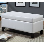 Modus Furniture Urban Seating Faux Leather Storage Bench in White