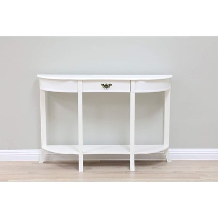 Ghp 47 5 X12 X31 White Half Moon Round Console Table With External Shelf Drawer