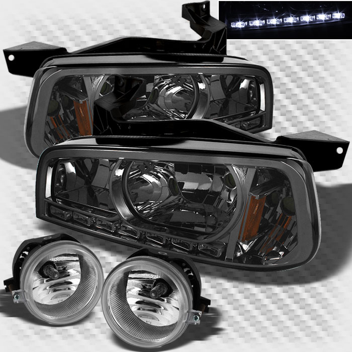For Smoked 2006-2010 Dodge Charger 2in1 LED Smoke Headlights + Bumper Fog Lights 2007 2008 2009