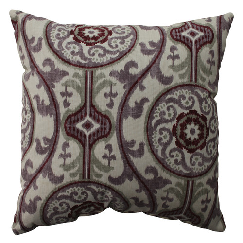 Pillow Perfect Suzani Damask Plum Throw Pillow