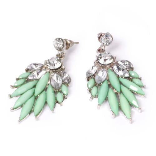 BMC Green Clear Rhinestone Feather Pattern Alloy Fashion Stud Dangle Earrings