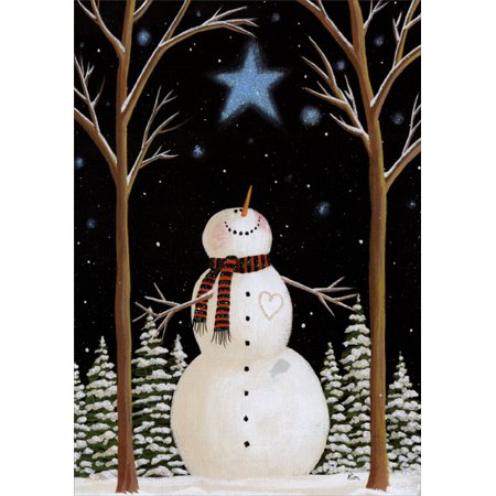 LPG Greetings Wish on a Star Snowman: Box of 14 Kim Leo Deluxe Glitter Christmas Cards - Wishing Well Card Box